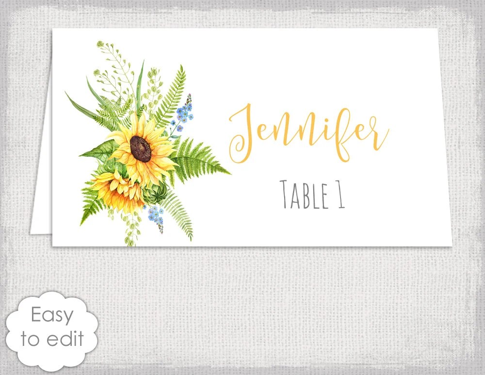 Sunflower Place Cards Template Tuscany Sunflowers