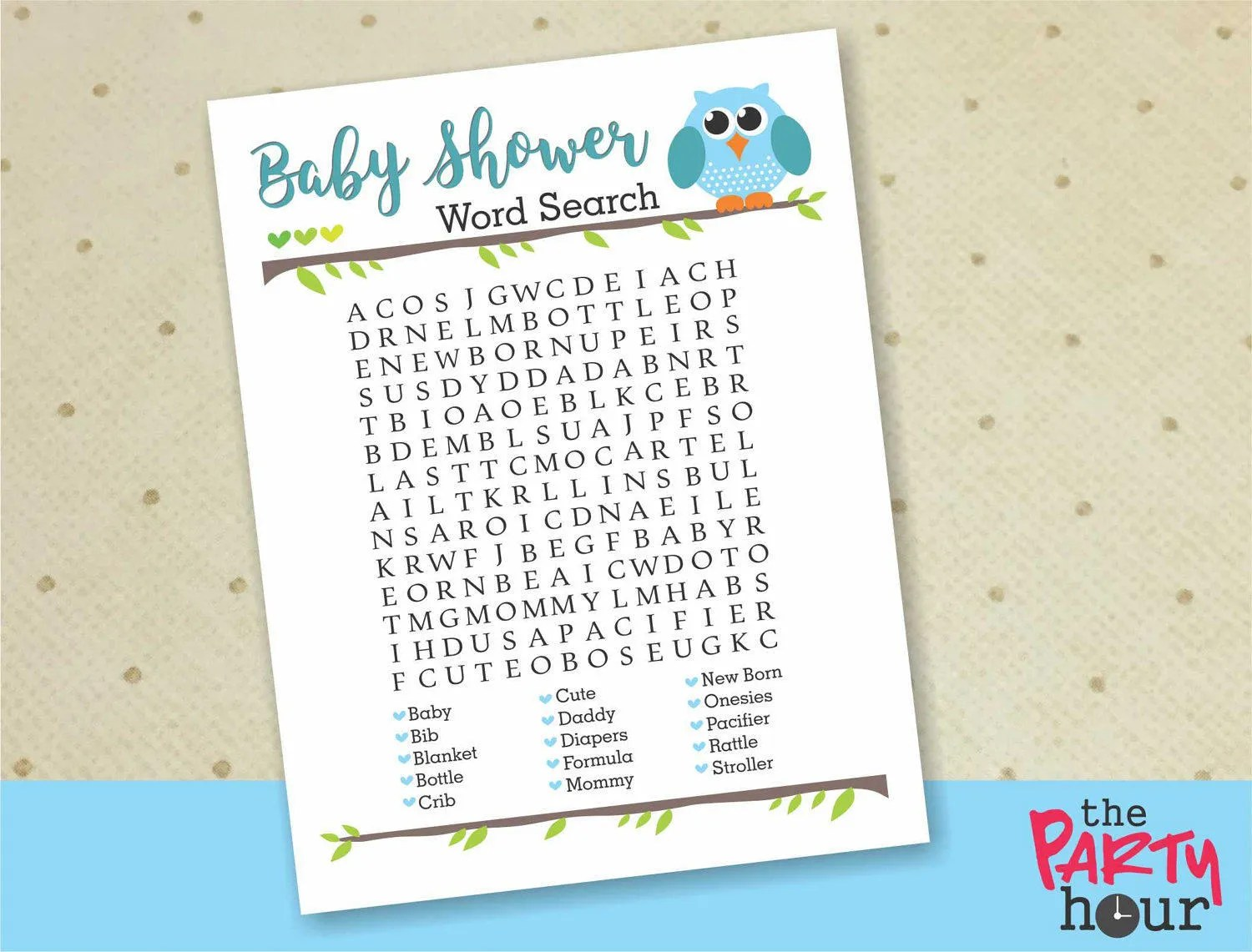 Owl Baby Shower Word Search Printable Baby Shower Games