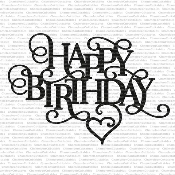 Download happy birthday heart decoration card svg vector files