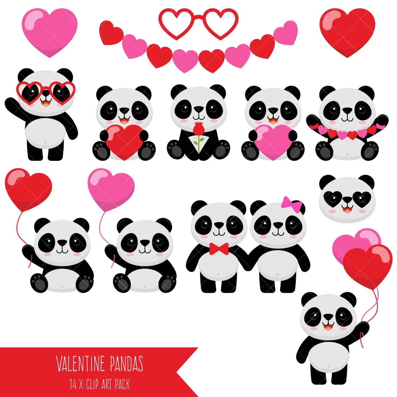 Valentine Pandas Clipart Panda Babies Clip Art