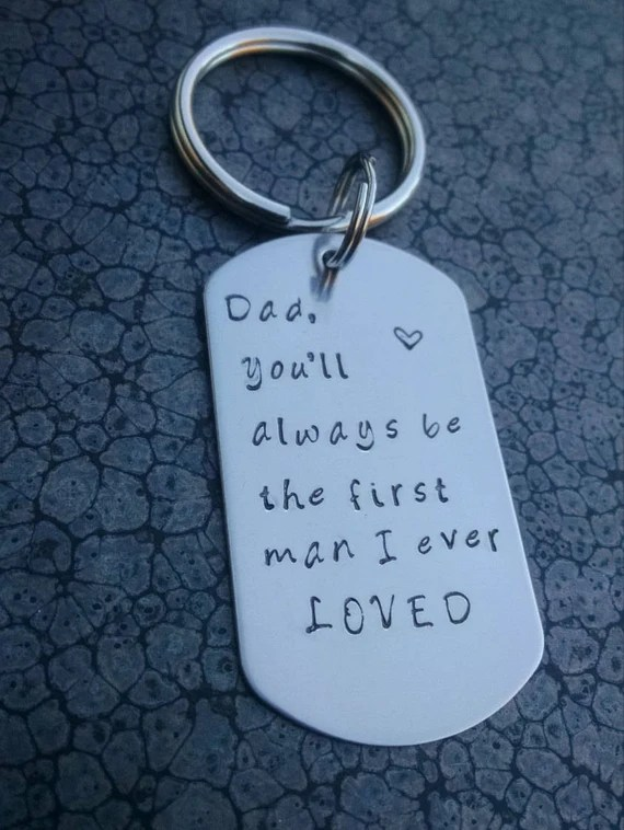 Download Stainless steel hand stamped dog tag keychain Father of the