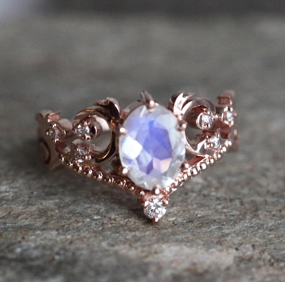 Rainbow Moonstone Engagement Ring In 14k Or 18K Solid Gold