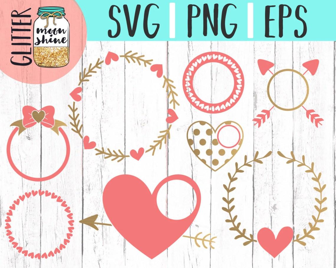 Download Valentine's Day Love Monogram Frame Bundle svg dxf eps png
