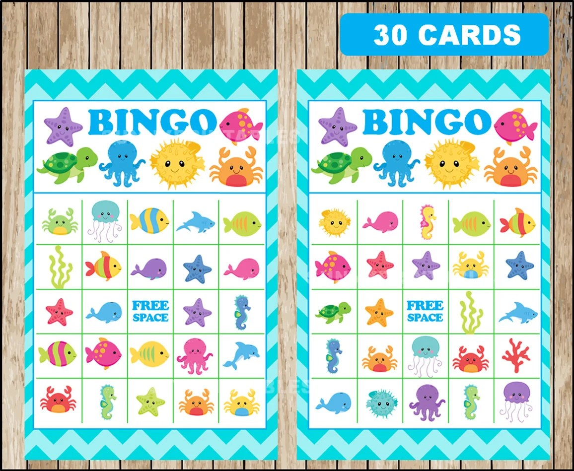 Printable 30 Under The Sea Bingo Cards Printable Under The