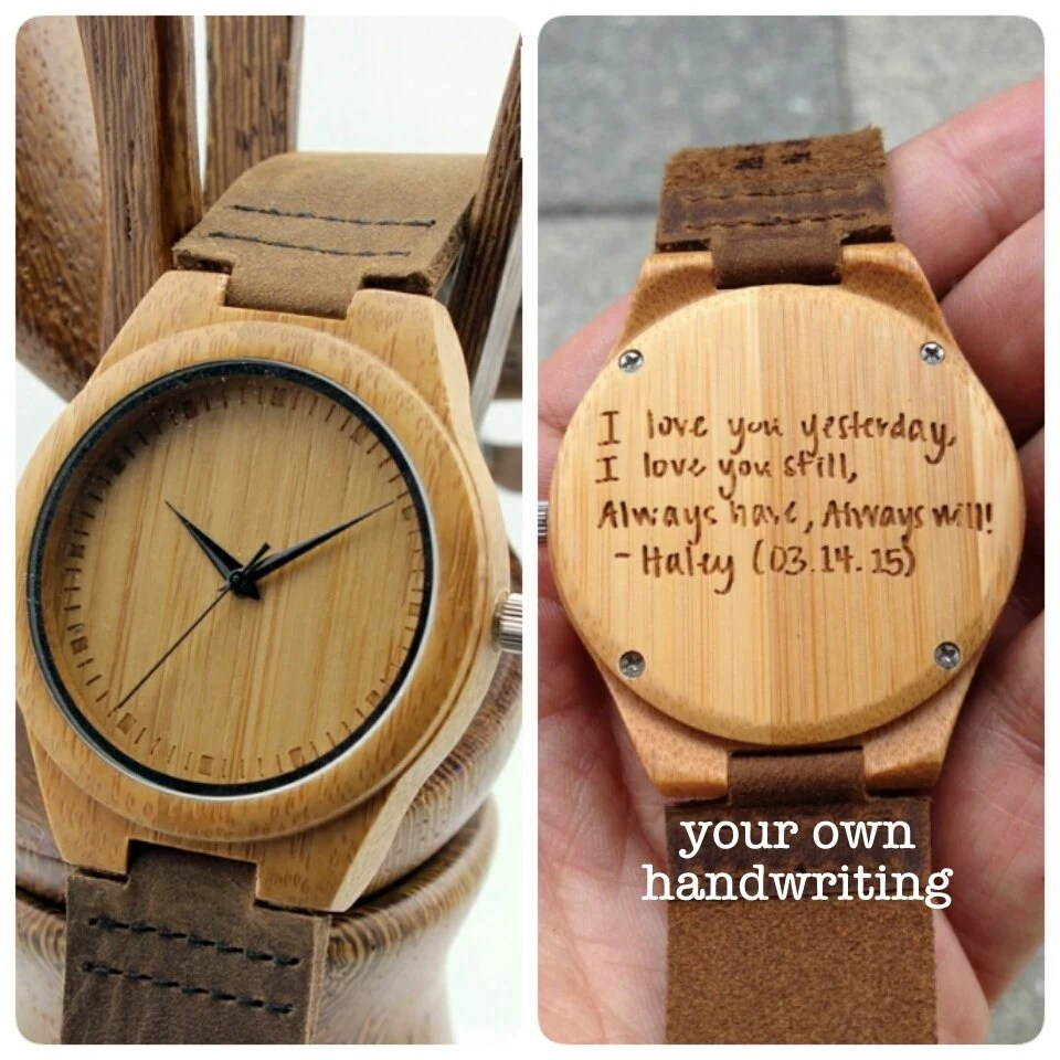 Engraved Mens Wooden Watch Personalized Handmade Wood Watch