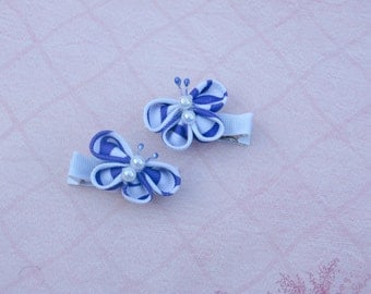 items similar to kanzashi hot pink and white kanzashi butterfly hair clip on etsy
