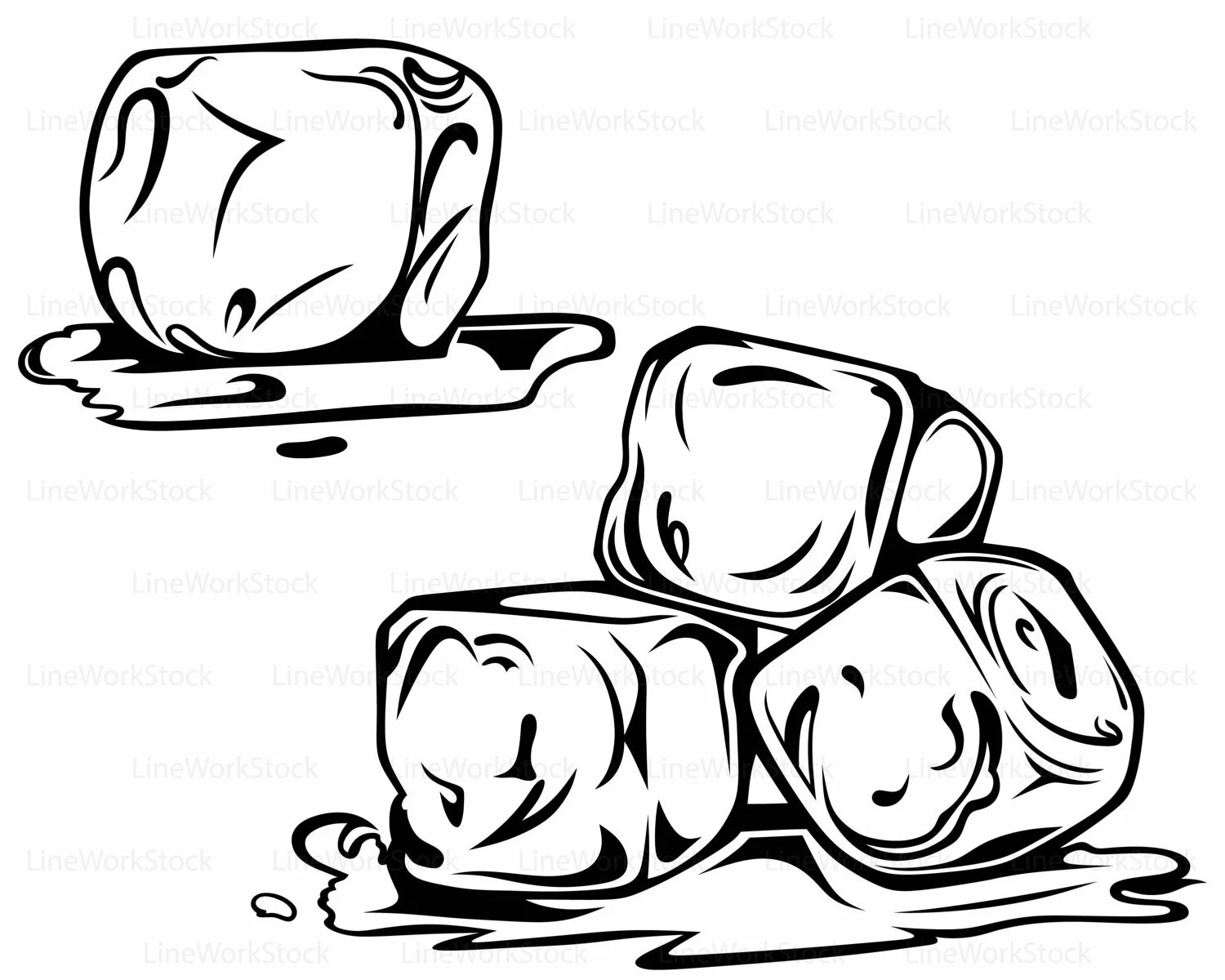 Black And White Clip Art Ice Cubes Pictures To Pin On