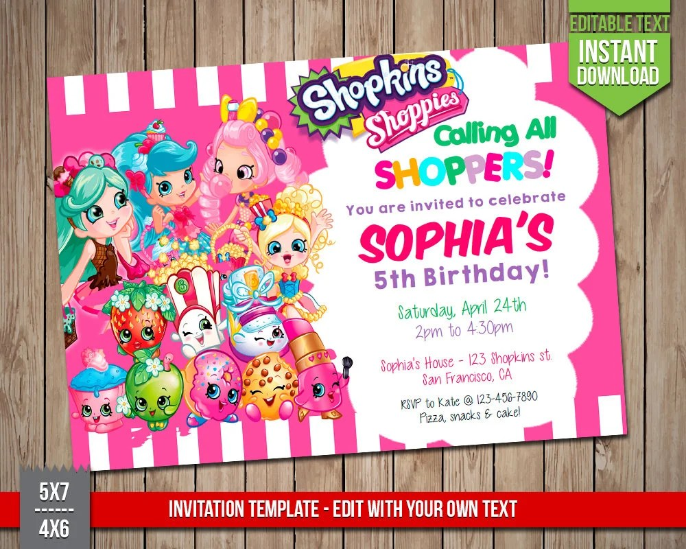 shopkins invitation template