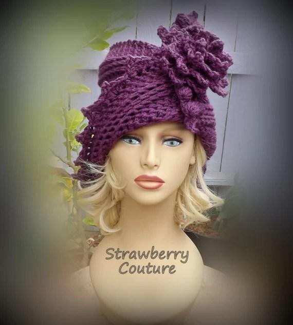 Crochet Pattern Hat, Crochet Hat Pattern, Womens Hat, Crochet Flower ...