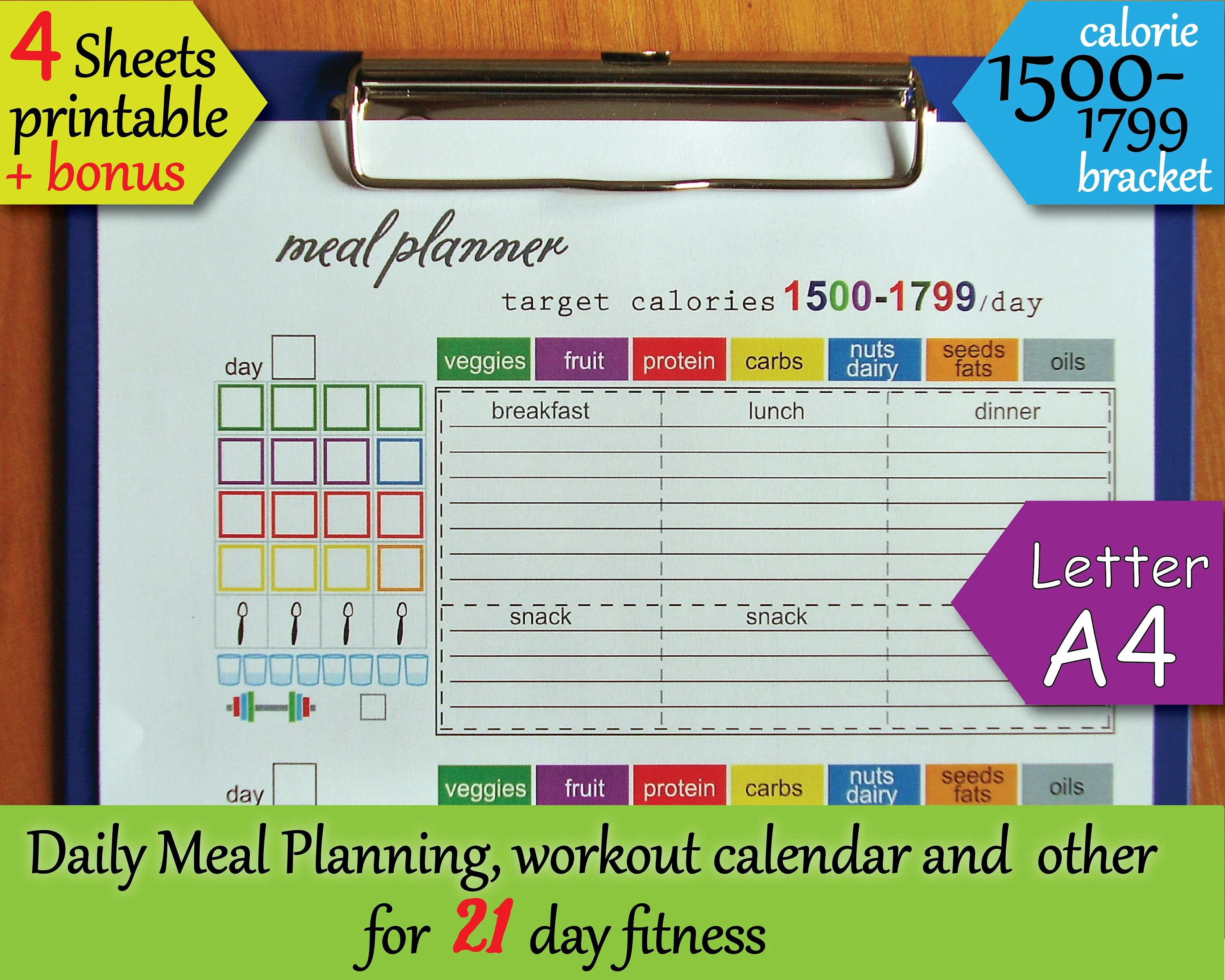 21 Day Fitness Printables Tracking Sheet Calorie Bracket