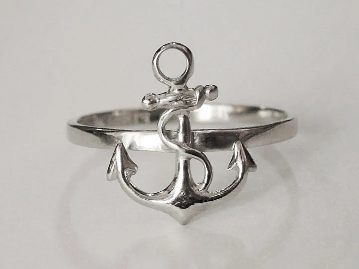 Sovats 925 Sterling Silver Anchor Nautical Ring Women Men