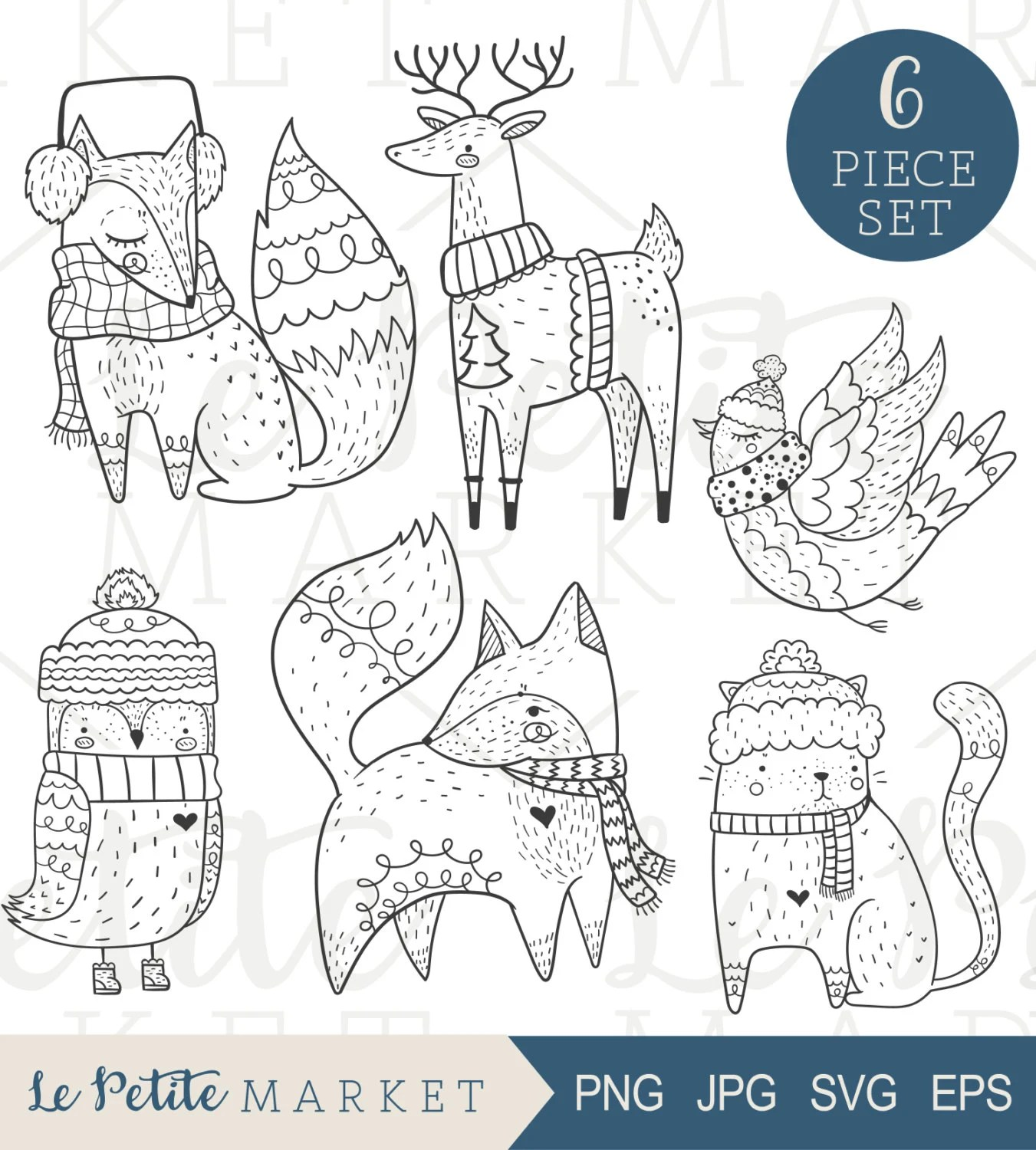 Cute Hand Drawn Holiday Clip Art Cute Woodland Creatures