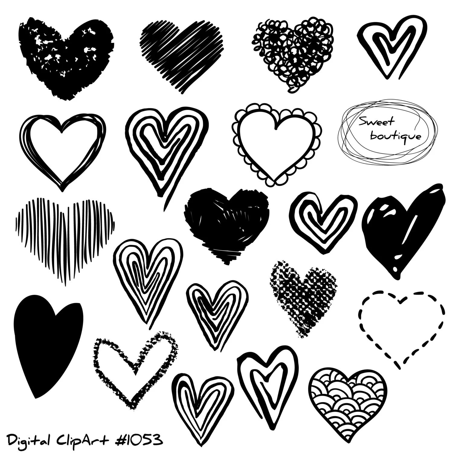 Hand Draw Hearts Doodle Heart Love Clipart Clip Art Hearts