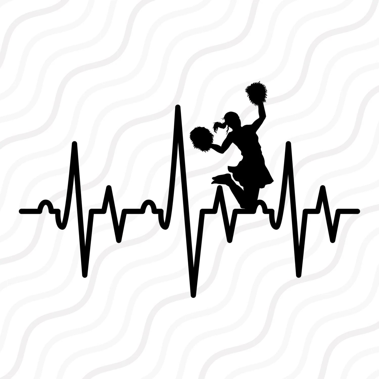 Cheer Heartbeat Svg Cheerleader Svg Heartbeat Svg Cut Table