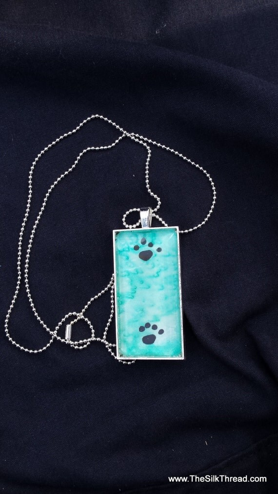 "Paw prints Necklace, silk jewelry, Hand painted silk pendant, 1"" x 2"", Handmade silk art by artist, blue green background organza gift bag,"