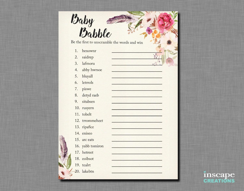 Boho Baby Shower Word Scramble Game Printable Bohemian Baby