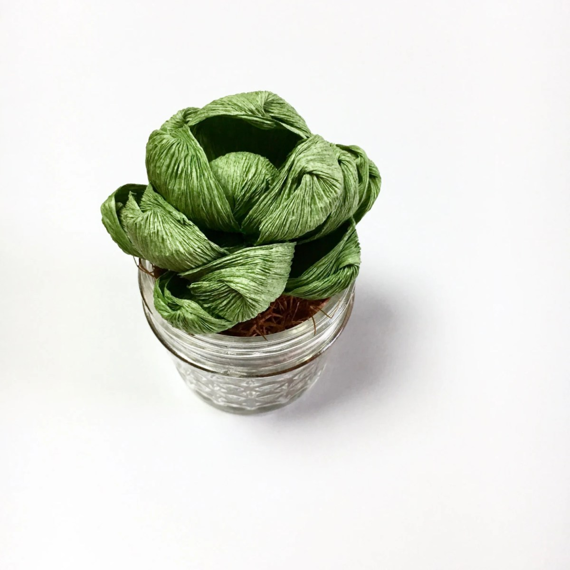 Paper Succulent in Mason Jar
