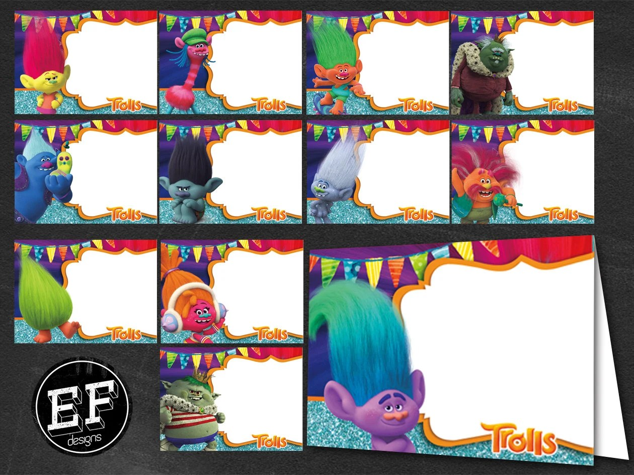 24 Troll Food Tent Cards Instant Download Printable Troll
