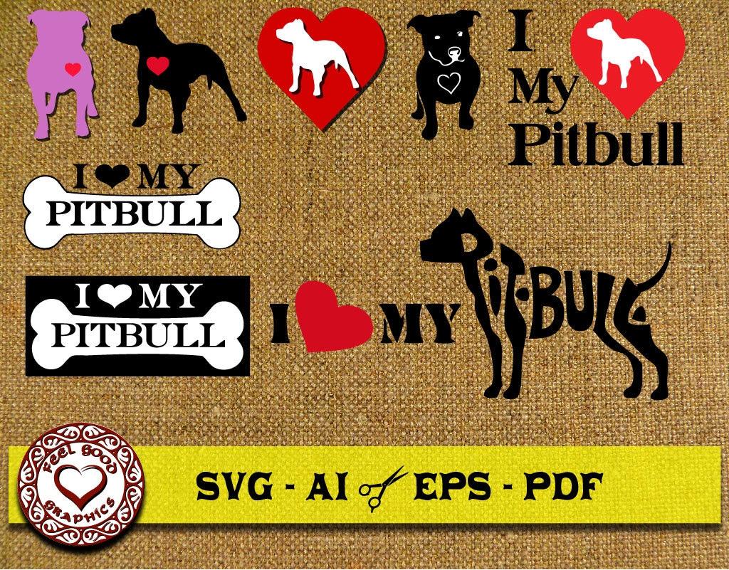 Download Pitbull Svg, I Love Pitbulls SVG, SVG Files, Cricut SVG ...