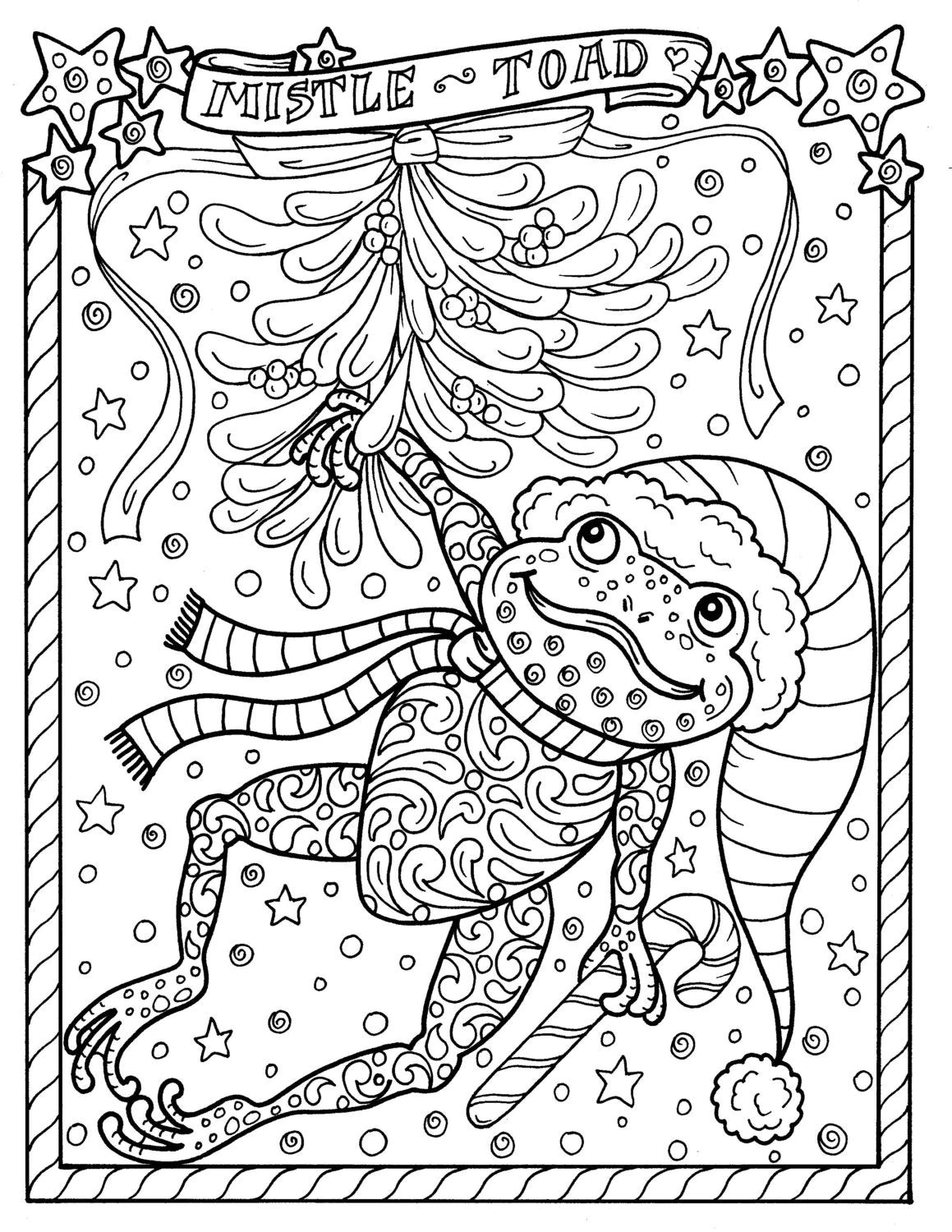 Frog Printable Coloring Page Christmas Mistle Toad Coloring