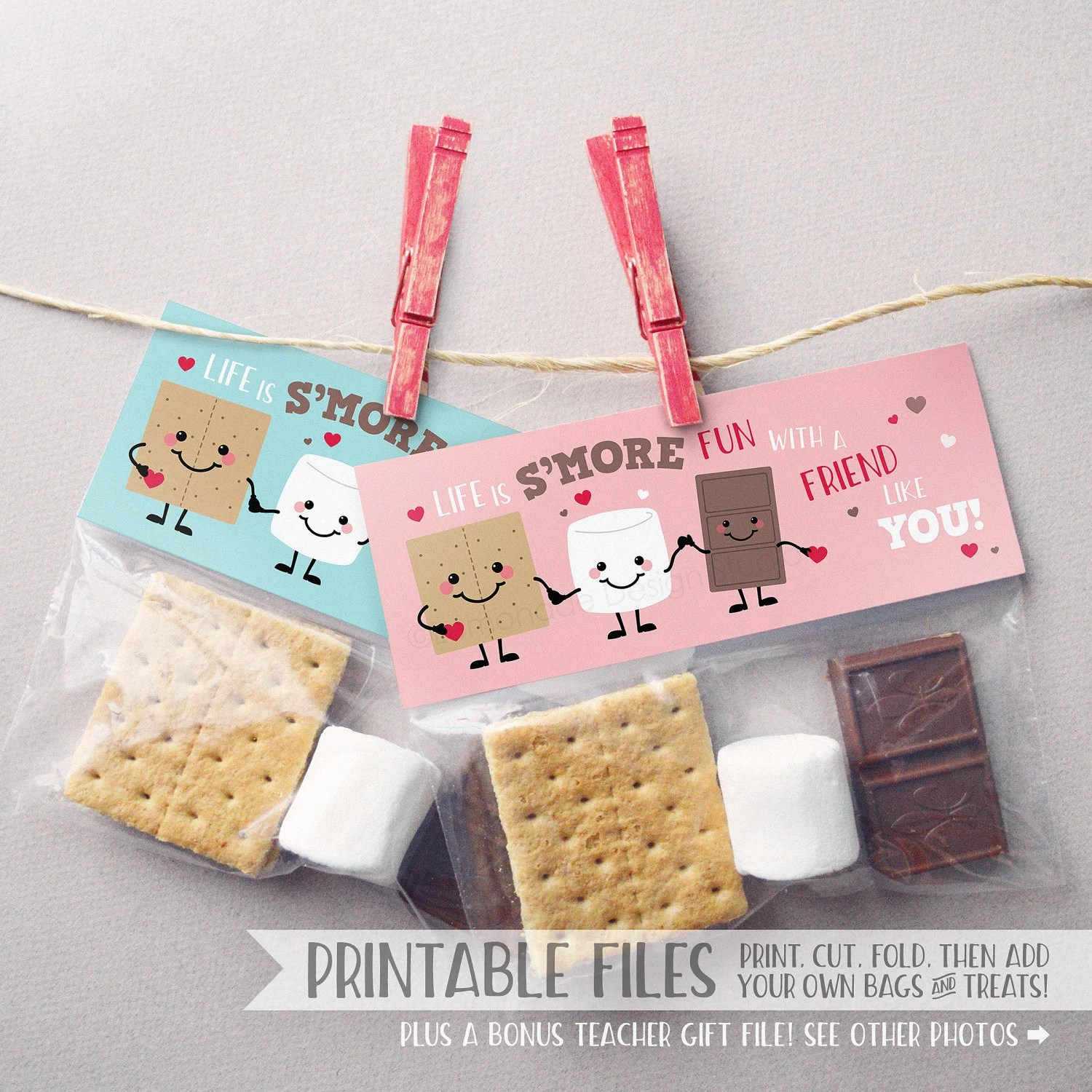 Printable Smores Valentine Treat Bag Toppers Instant Download