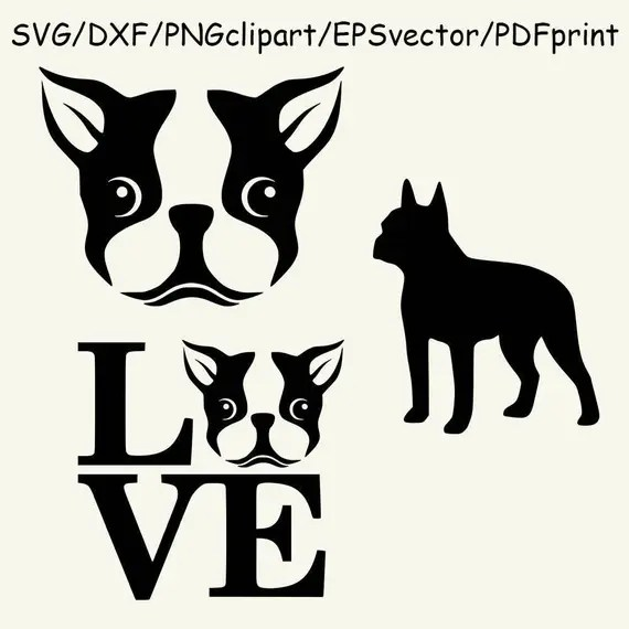Download Dog SVG Boston Terrier Silhouette Head I love Boston Terrier