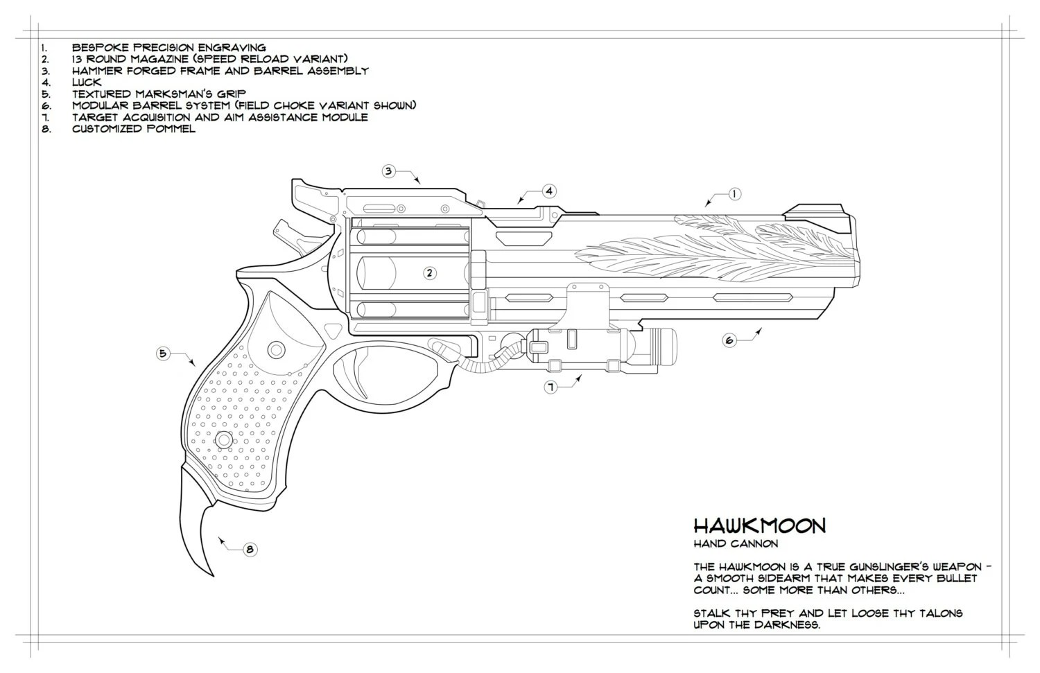 Destiny Hawkmoon Schematic Drawing