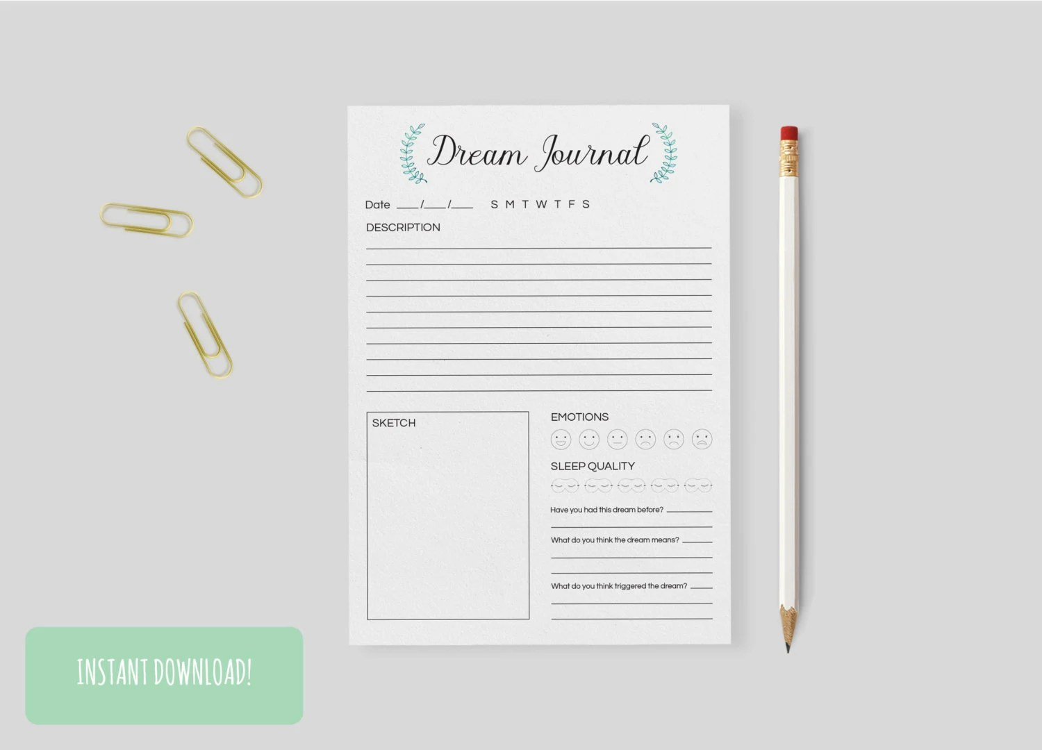 Dream Journal Wreath A4 Interactive And Printable Files