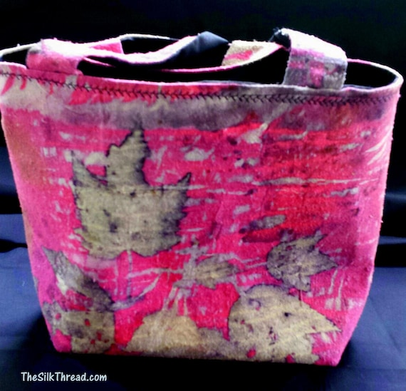 Beautiful Silk handbag, purse, pocketbook, All natural designs & actual colors from plants, sustainable , eco-friendly, handcrafted