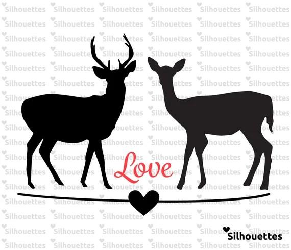 Download SVG LOVE Couple Deer silhouette instant downlaod eps