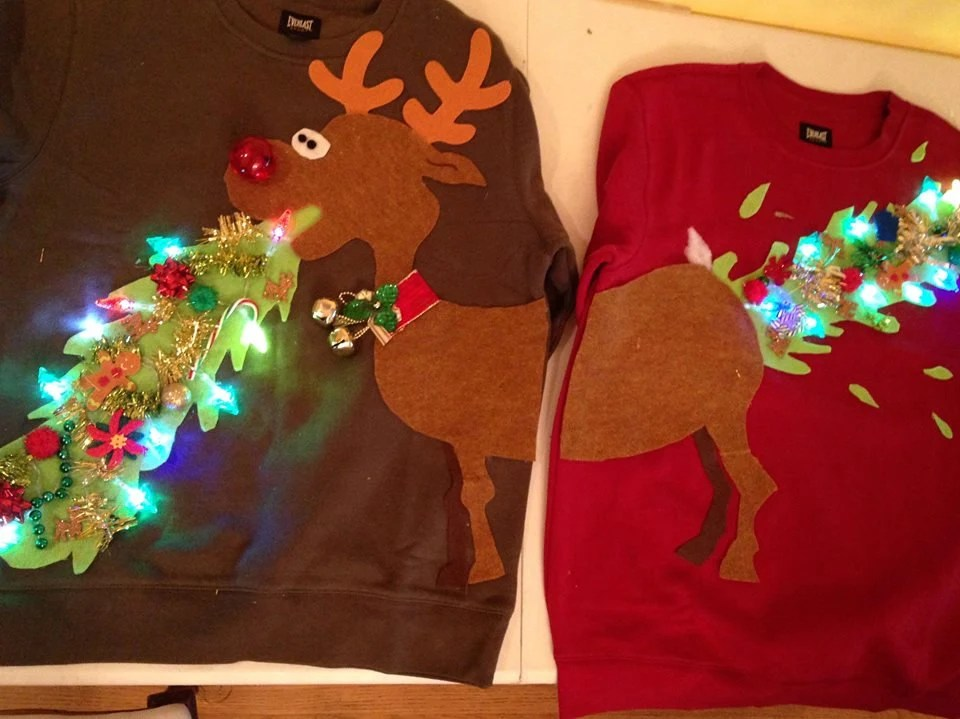Ugly Christmas Sweater Couple Sweater Vomitting Reindeer