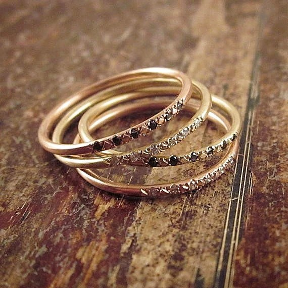 14K Rose Gold Ring Pave Diamond Ring Pink Gold Stacking Rings