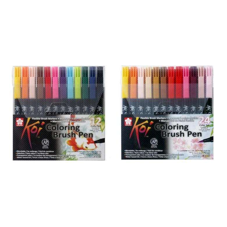 sakura koi coloring brush assorted color pen set | pk 12 24