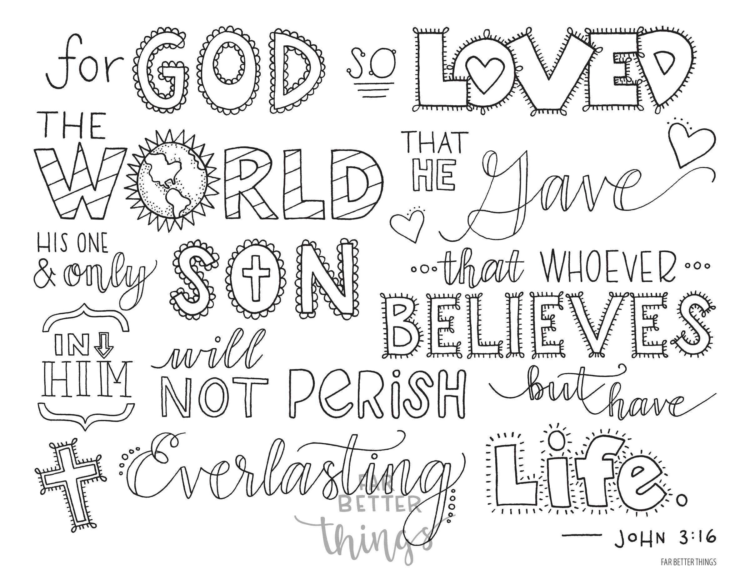 Bible Verse Coloring Page John 3 16 Printable 8 5x11