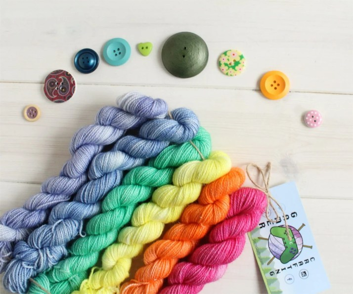 Hand dyed yarn Tiny Rainb...