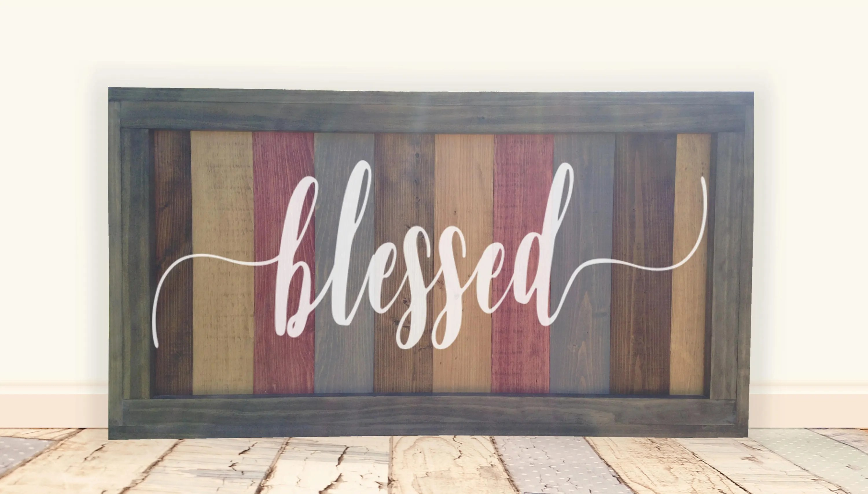 Large Blessed Painted Farmhouse Style Framed Wood Sign