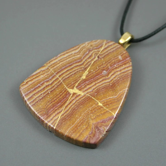 Kintsugi (kintsukuroi) red picture jasper flag-shaped stone pendant with gold repair on black cotton cord - OOAK