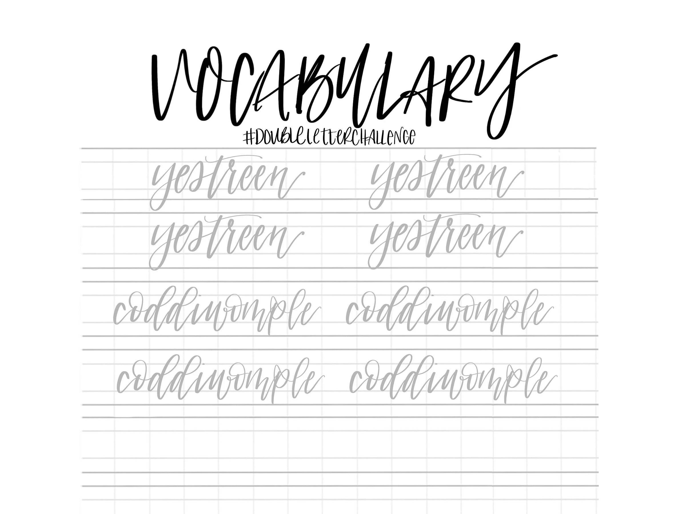 Hand Lettering Practice Sheets Double Letter Words Unusual