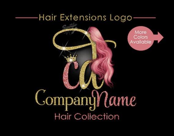 Hair Extensions Business Logo Glitter Bling Logo Rose Gold