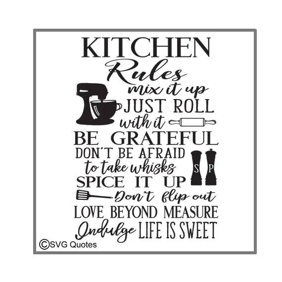 Download SVG Cutting File Kitchen Rules DXF EPS For Cricut Explore