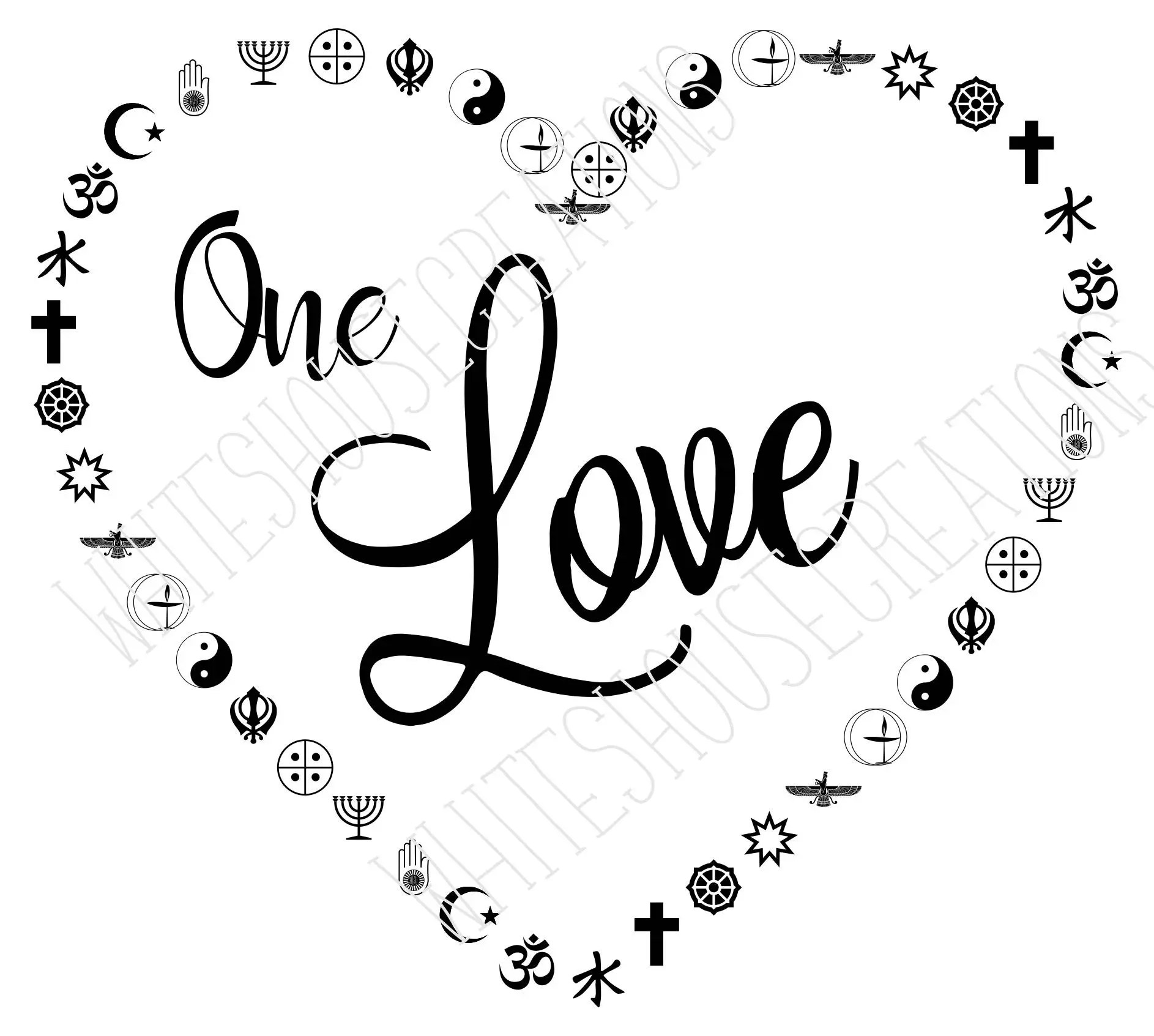 One love in multi religious symbols coexist svg dxf eps for this is a digital file