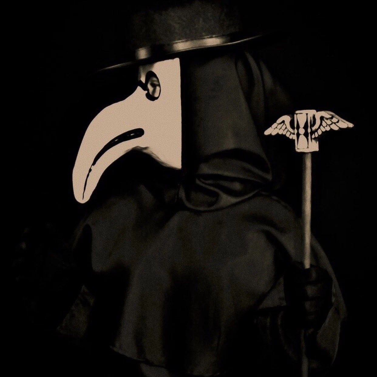 Plague Doctor Staff Topper Winged Hourglass