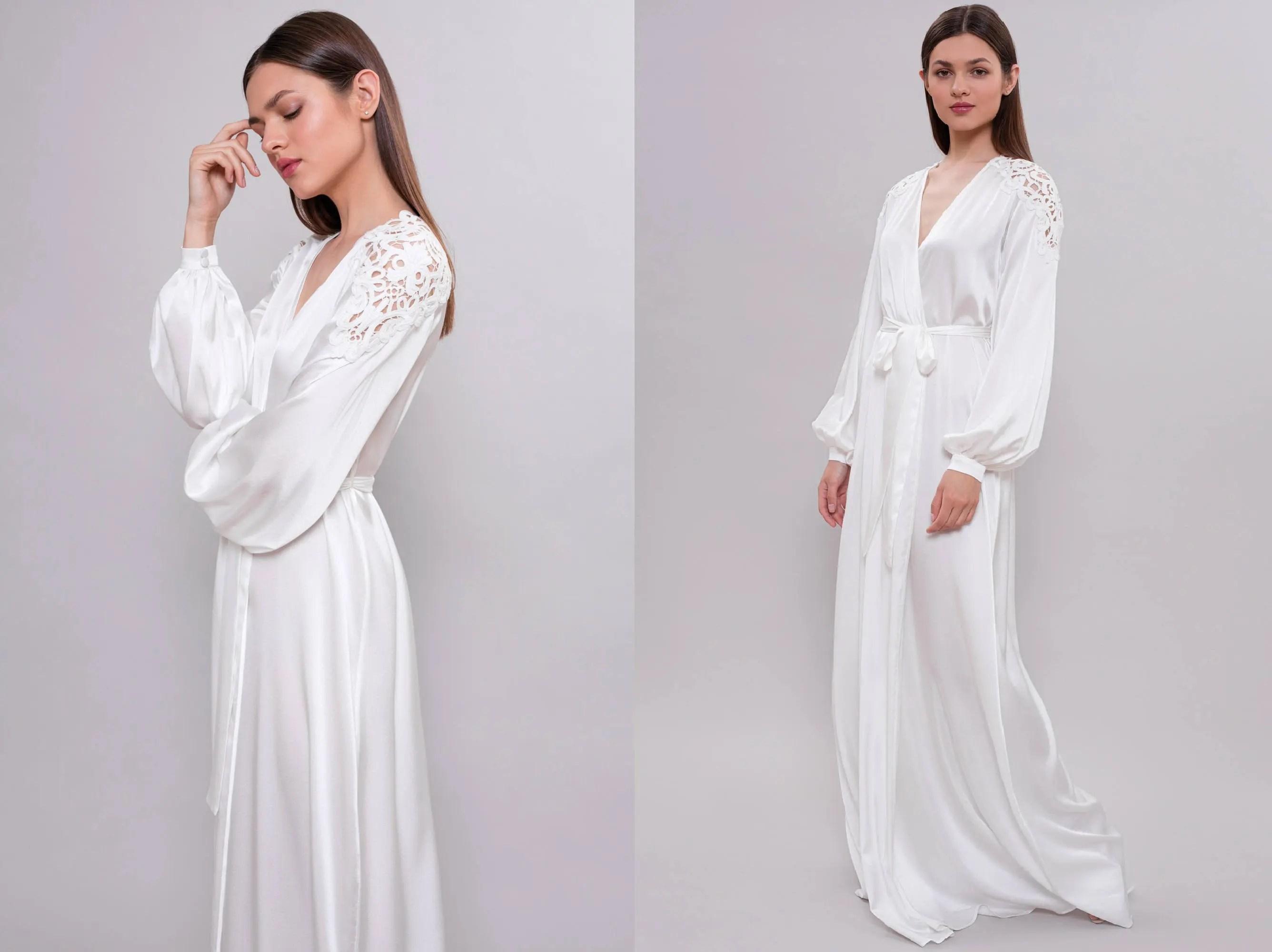 Long Bridal Robe F22 Long Silk Bridal Robe Bride Robe