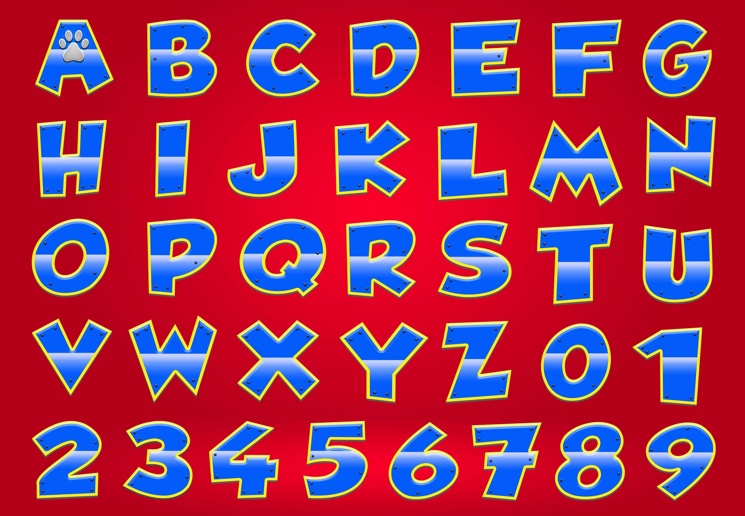 Paw Patrol Clipart Alphabet Numbers Transparent Background