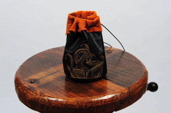 Large leather dice bag tentacles