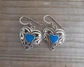 Sterling silver heart ear...