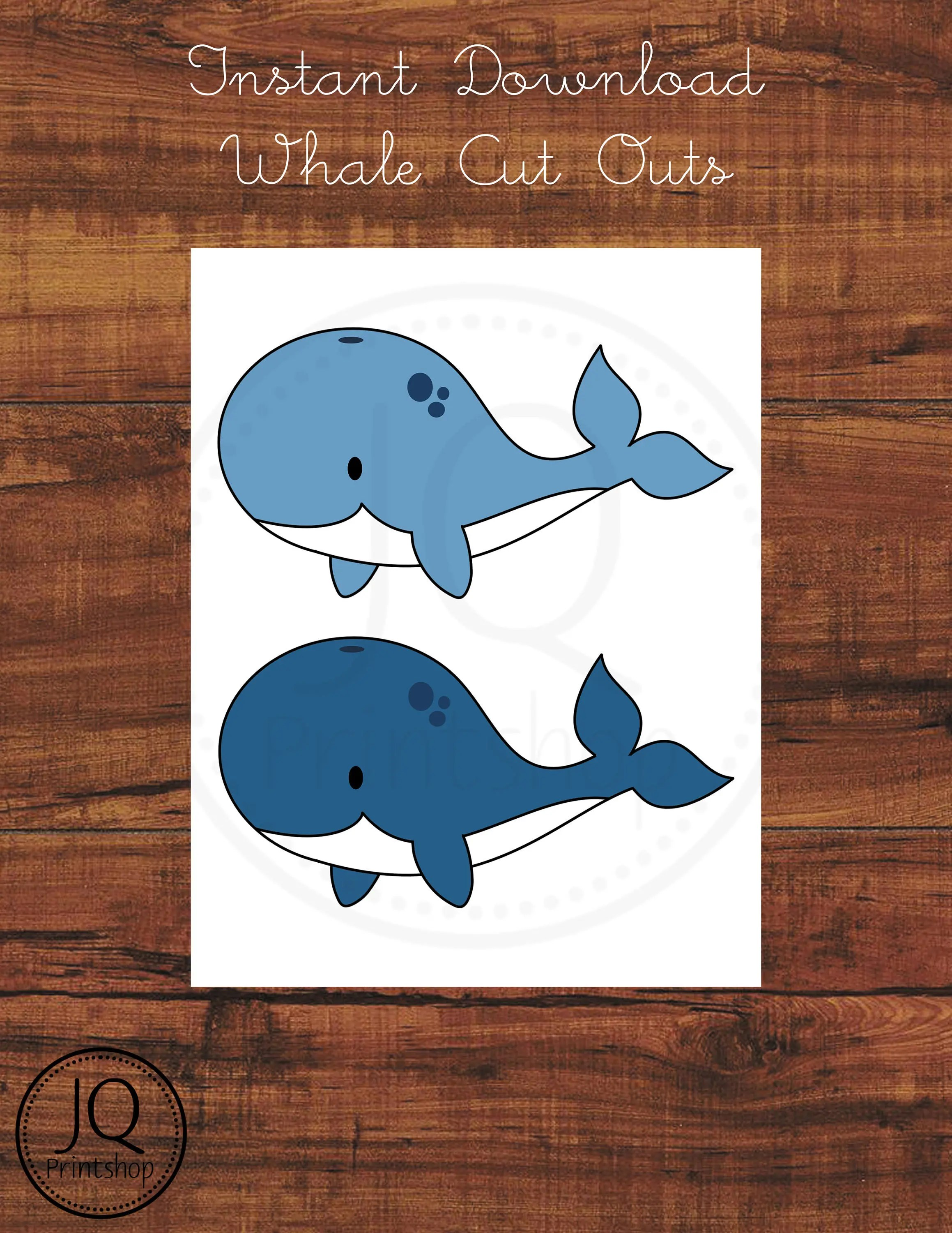 Printable Whale Baby Shower Decoration Print And Cut Out