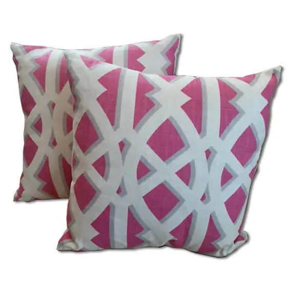 Pretty Pink  and White large trellis pillow covers