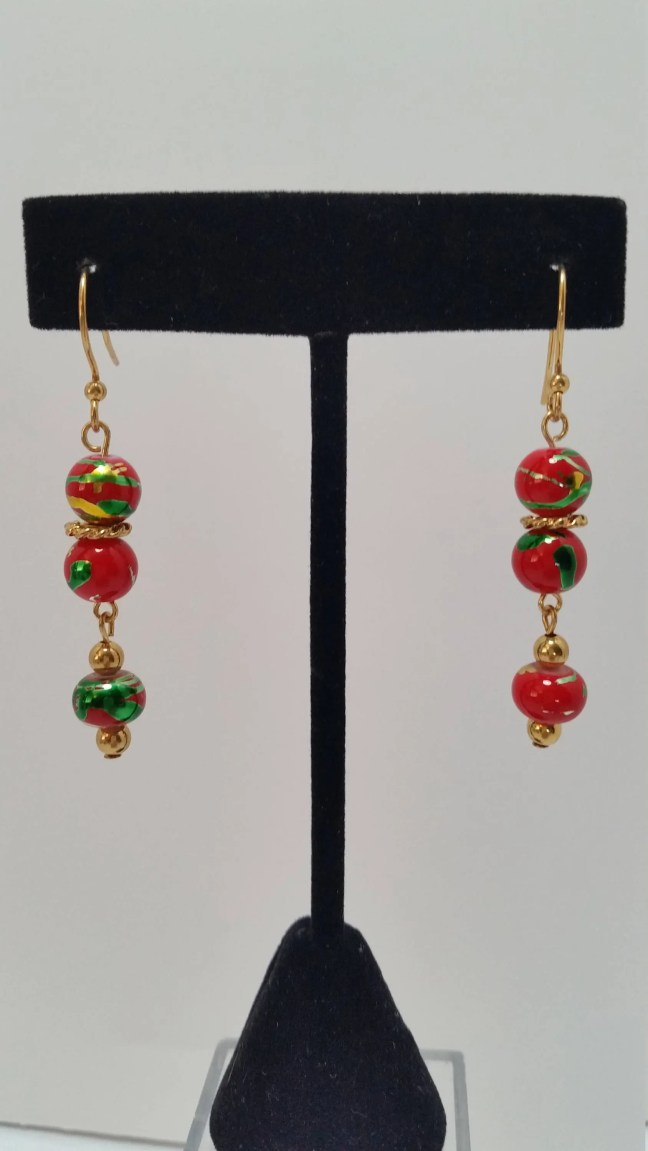 Red, Green and Gold Earri...