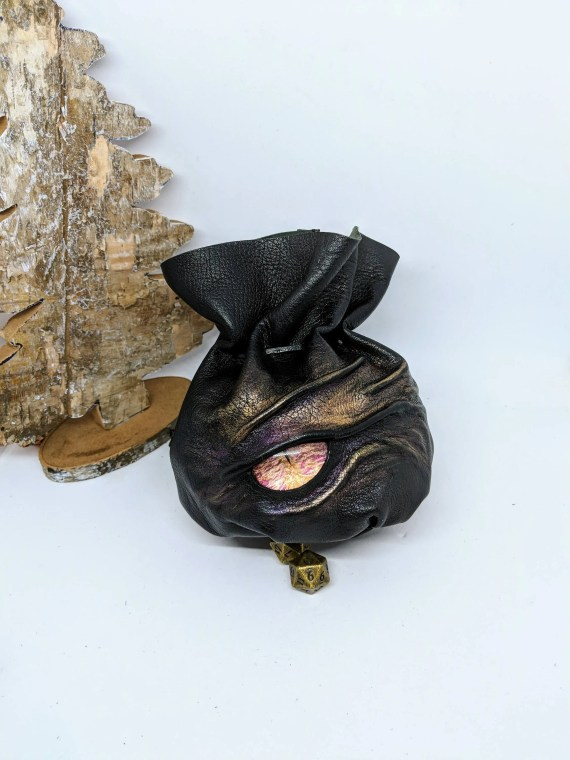 Dice Bag XXL , Genuine Soft Black Leather With a Large Hand Painted Glass Cabochon Dragons Eye for up to 140 Dice.
